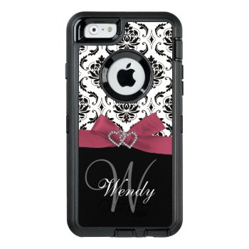 Personalized Initial  Pink  Black Damask Pattern Otterbox Defender Iphone Case by monogramgallery at Zazzle