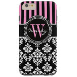 Personalized Initial Pink Black Damask Stripes Tough iPhone 6 Plus Case