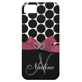 Personalized Initial, Pink, Black Polka Dots Case iPhone 5 Covers