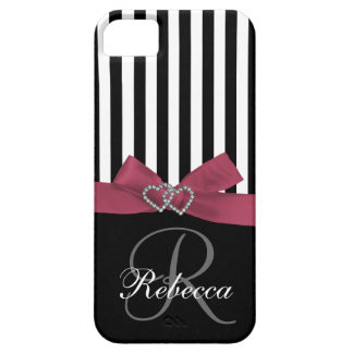 Personalized Initial, Pink, Black Stripes Case iPhone 5 Cases