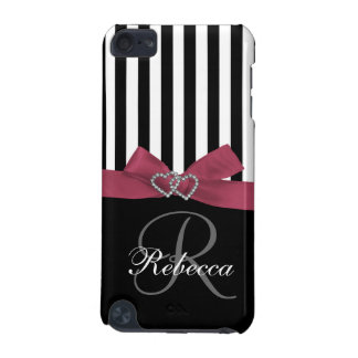 Personalized Initial Pink Black Stripes Pattern iPod Touch (5th Generation) Case