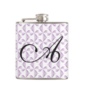 Personalized Initial Purple Pinwheels Flask