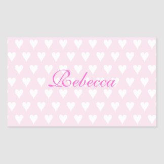 Personalized initial R girls name cute pink hearts Rectangular Sticker