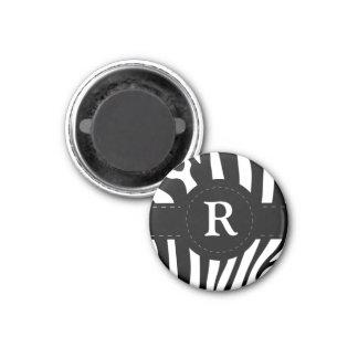 Personalized initial R zebra stripes magnet