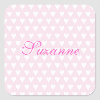 Personalized initial S girls name cute pink hearts Square Sticker