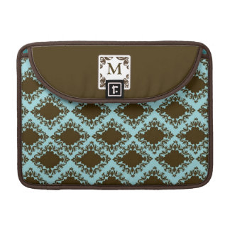 Personalized Initial Teal Damask MacBook Sleeve Sleeve For MacBooks