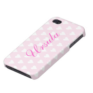 Personalized initial U girls name hearts pink Cases For iPhone 4
