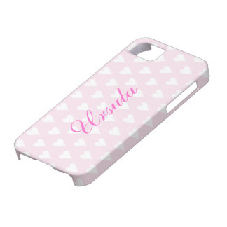 Personalized initial U girls name hearts pink cute iPhone SE/5/5s Case