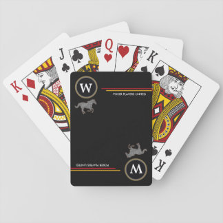personalized initial with horses black playing cards