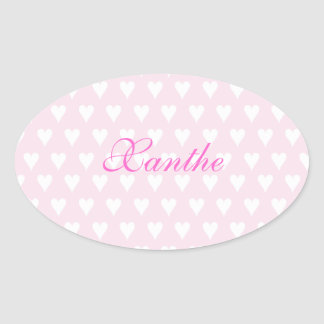 Personalized initial X girls name cute pink hearts Oval Sticker