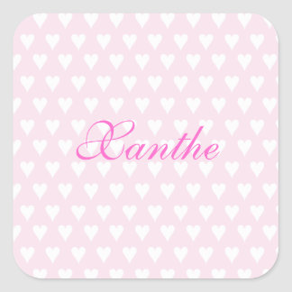 Personalized initial X girls name cute pink hearts Square Sticker