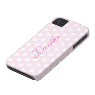 Personalized initial X girls name hearts pink cute iPhone 4 Case-Mate Case