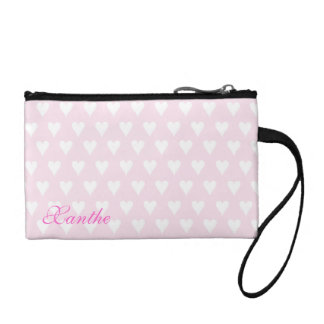 Personalized initial X girls name pink hearts Change Purse