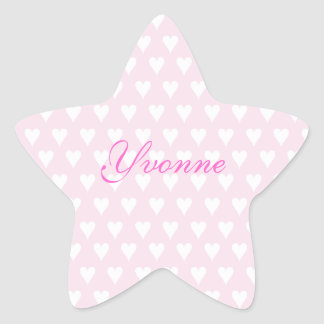 Personalized initial Y girls name cute pink hearts Star Sticker