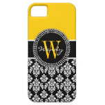 Personalized Initial Yellow Black Damask Case iPhone 5 Cover