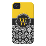 Personalized Initial Yellow Black Damask Case iPhone 4 Case