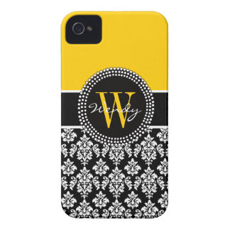 Personalized Initial Yellow Black Damask Case