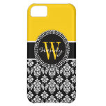 Personalized Initial Yellow Black Damask Case iPhone 5C Cases
