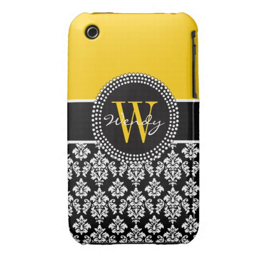 Personalized Initial Yellow Black Damask Case iPhone 3 Case-Mate Cases
