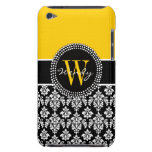 Personalized Initial Yellow Black Damask Case iPod Touch Covers