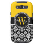 Personalized Initial Yellow Black Damask Case Samsung Galaxy SIII Case