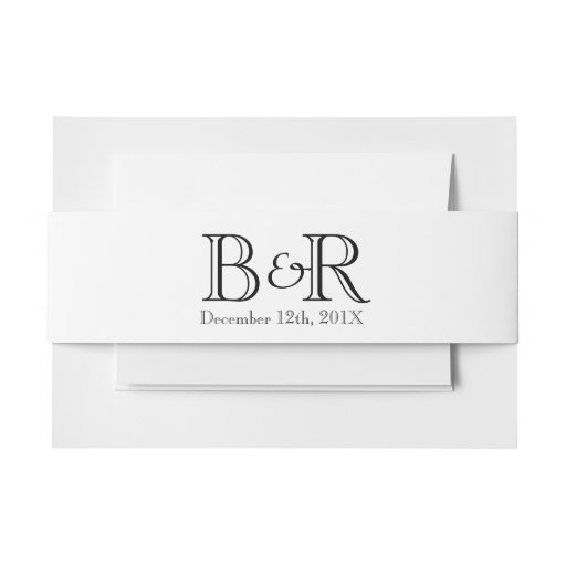 Personalized Initials and Date Belly Band Invitation Belly Band