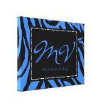 Personalized Initials Canvas Print with Zebra
