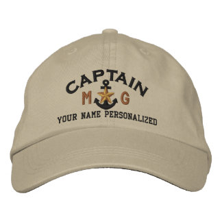 Personalized Initials Captain Nautical Star Anchor Embroidered Baseball Cap