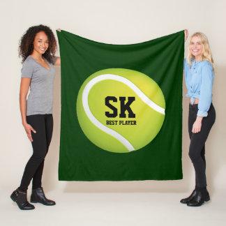Personalized Initials Green Tennis Ball Fleece Blanket