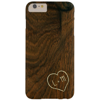 Personalized initials mahogany wood grain texture barely there iPhone 6 plus case