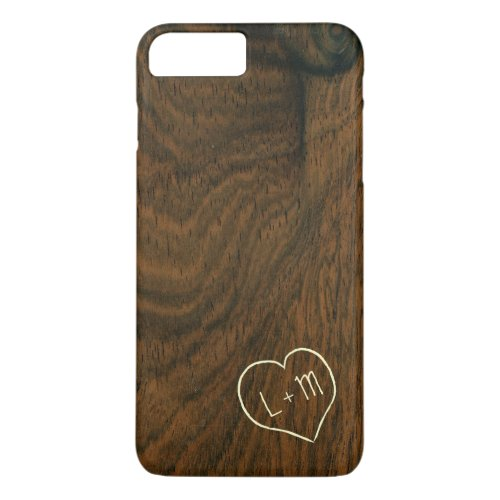 Personalized initials mahogany wood grain texture Phone Case