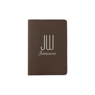 Personalized Initials Passport Holder, Dark Brown Passport Holder