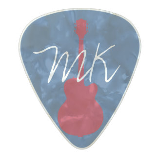 personalized initials pearl celluloid guitar pick