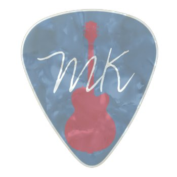 Personalized Initials Pearl Celluloid Guitar Pick by mixedworld at Zazzle