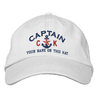 Personalized Initials Text Captain Star Anchor Embroidered Baseball Hat