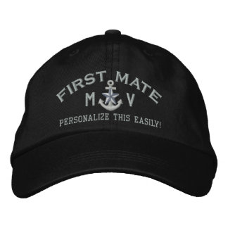 Personalized Initials Text First Mate Silver Star Embroidered Hat