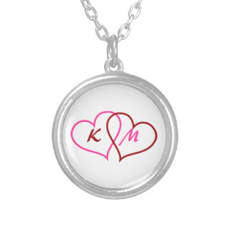 Personalized Initials Two Hearts Necklace