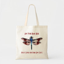 """Personalized """"Insect Lover"""" Vintage Dragonfly Tote Bag"""