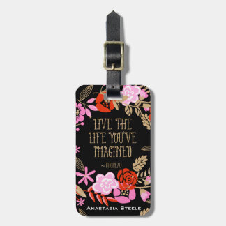 Personalized Inspiration Live Life Imagined Quote Bag Tag