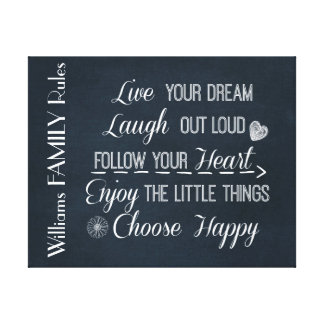 Personalized Inspirational Happy Family Rules Canvas Print