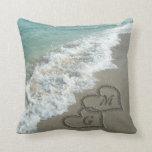 Personalized Interlocking Sand Hearts Beach Pillow
