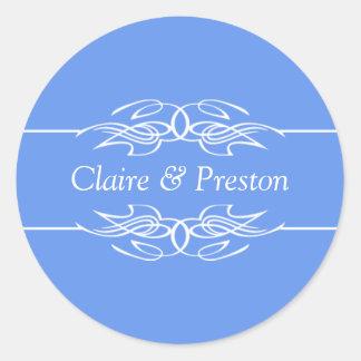 Personalized Invitation Cornflower Blue Classic Round Sticker