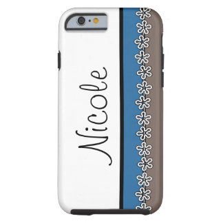 Personalized iPhone 6 case in brown and blue