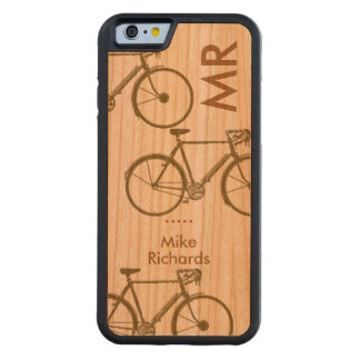personalized iPhone 6 with bikes on wood Carved® Cherry iPhone 6 Bumper