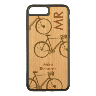 personalized iPhone 6 with bikes on wood Carved iPhone 7 Plus Case