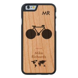 personalized iPhone 6 with black bike on wood Carved Cherry iPhone 6 Slim Case