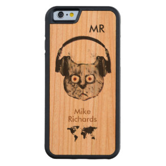 personalized iPhone 6 with dj cat on wood Carved® Cherry iPhone 6 Bumper Case