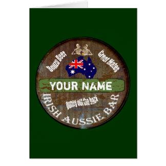 Personalized Irish Australian pub sign Card