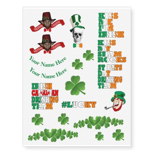Personalized irish canadian st patricks day temporary for Irish canadian tattoos