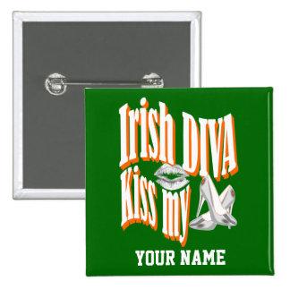 Personalized Irish diva Pinback Button